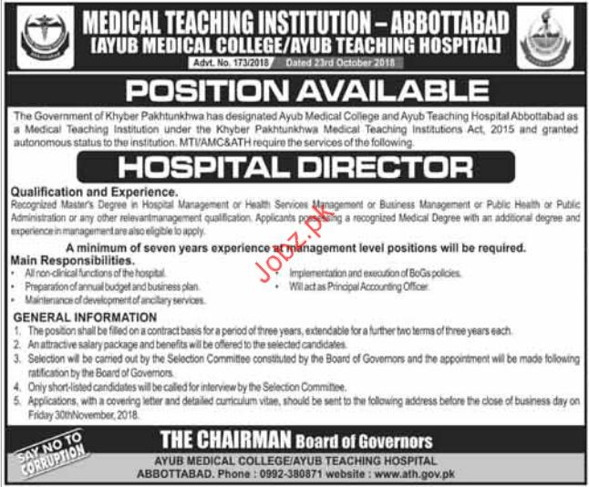 Hospital Director Jobs in Ayub Teaching Hospital