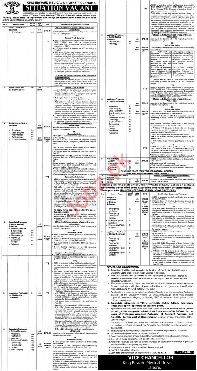 King Edward Medical University Lahore Faculty Jobs 2018