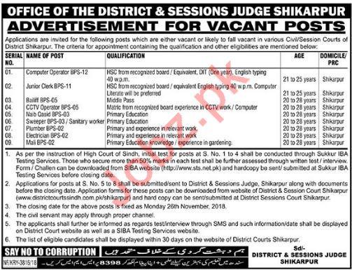 District & Session Judge Office Shikarpur Jobs 2018