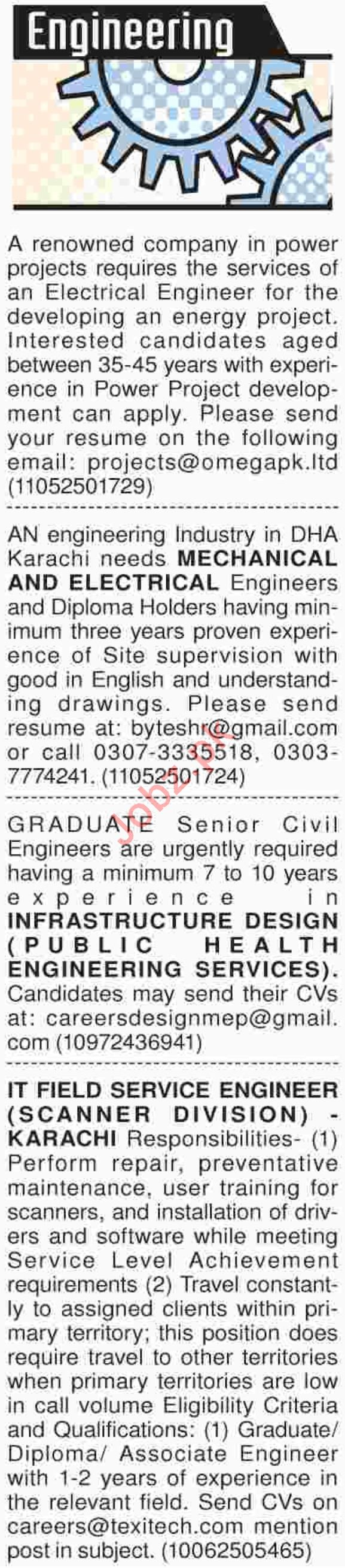 Dawn Sunday Classified Ads for Engineering Jobs