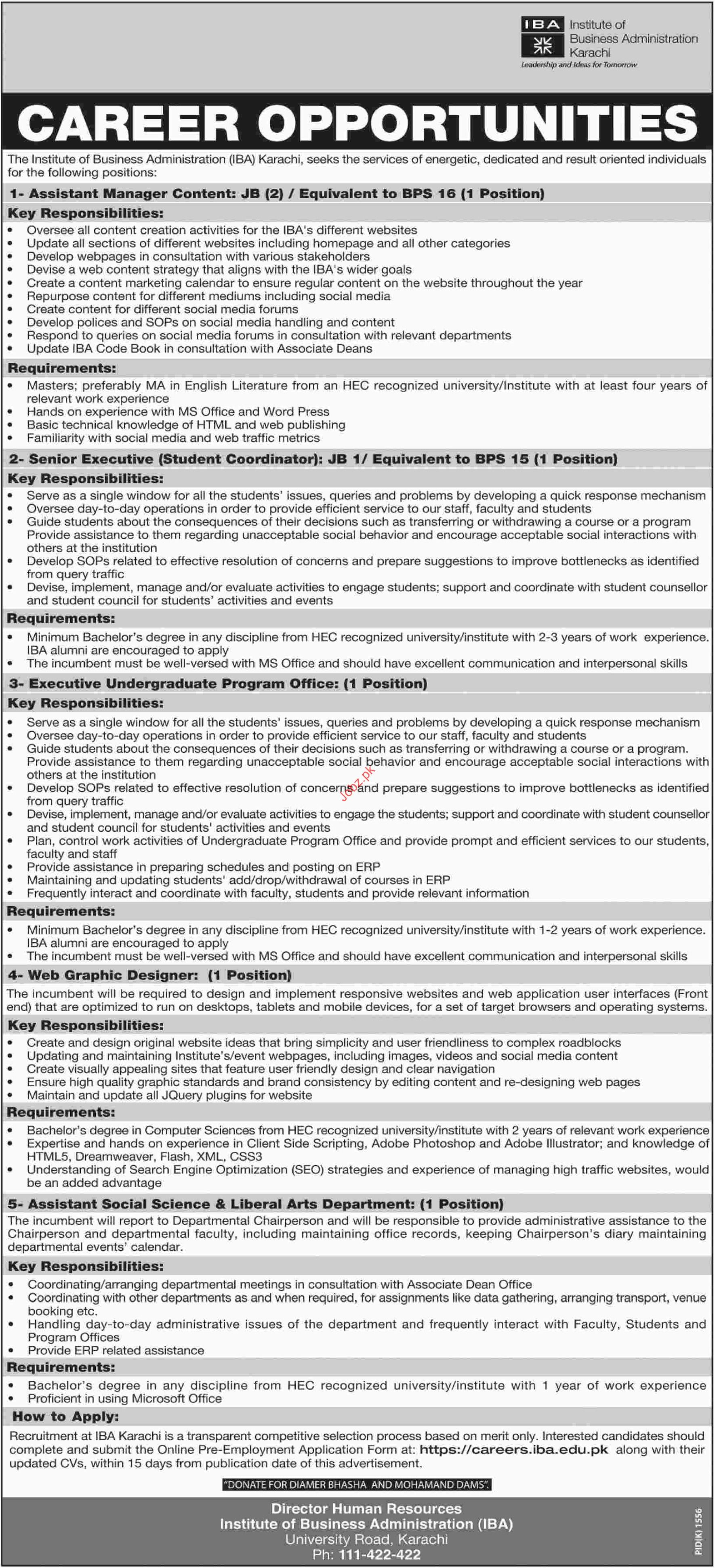 Institute of Business Administration IBA Manager Jobs 2018
