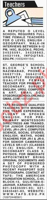 Dawn Sunday Classified Ads for Teaching Posts