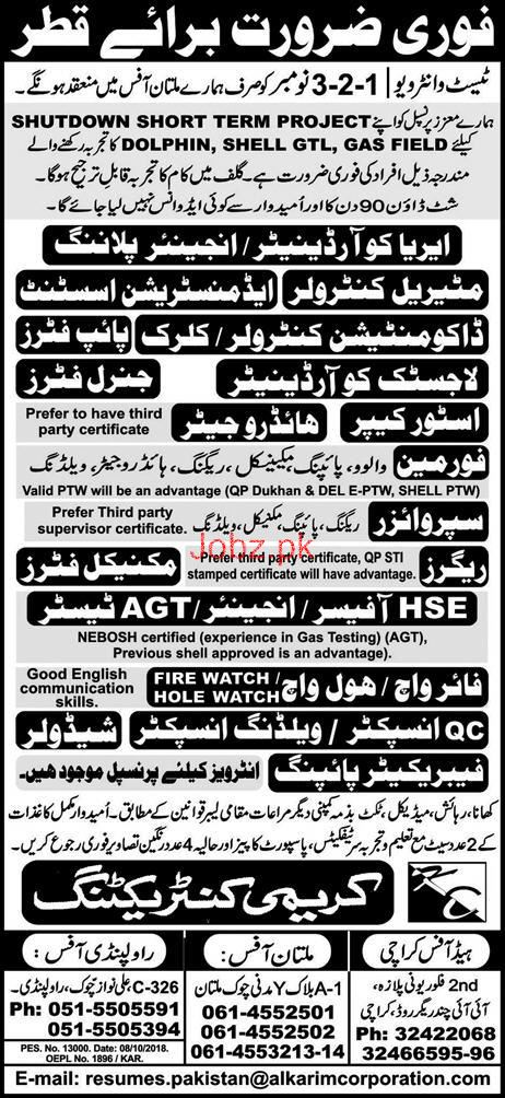 Coordinator, Administration Assistants, Foreman Wanted
