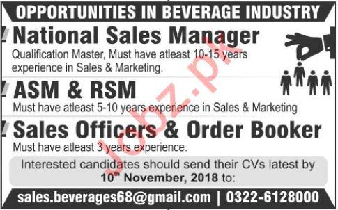 National Sales Manager, ASM, RSM, Sales Officer, Order Booker jobs