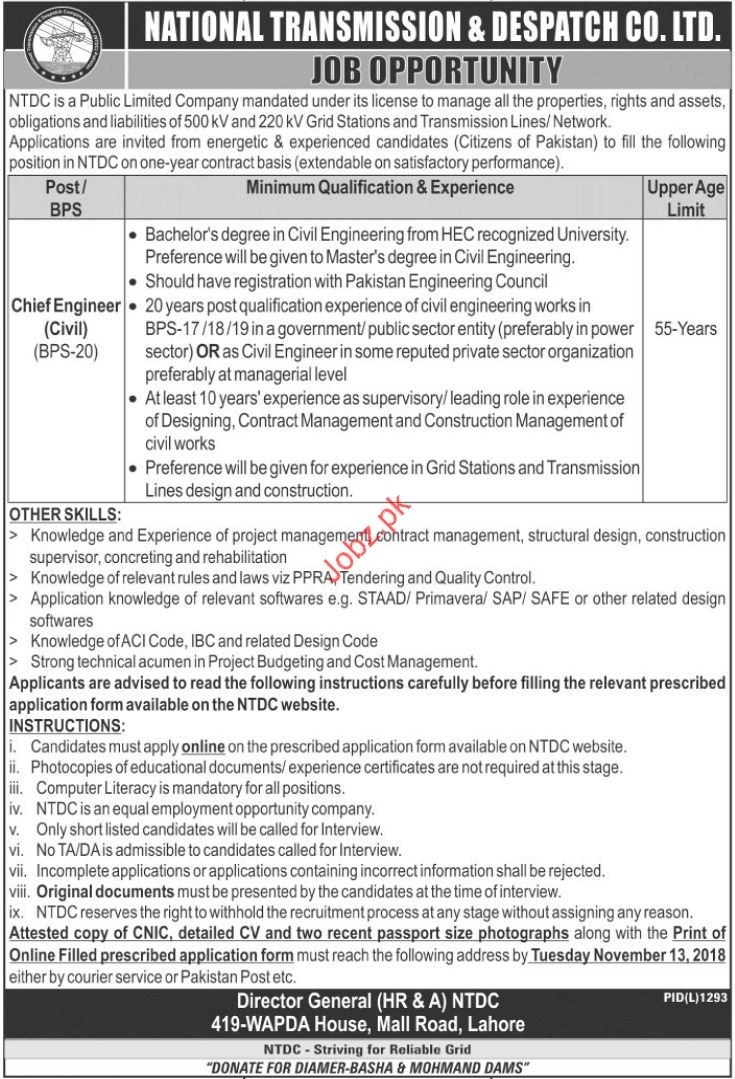 Chief Engineer Jobs in National Transmission & Despatch CO.