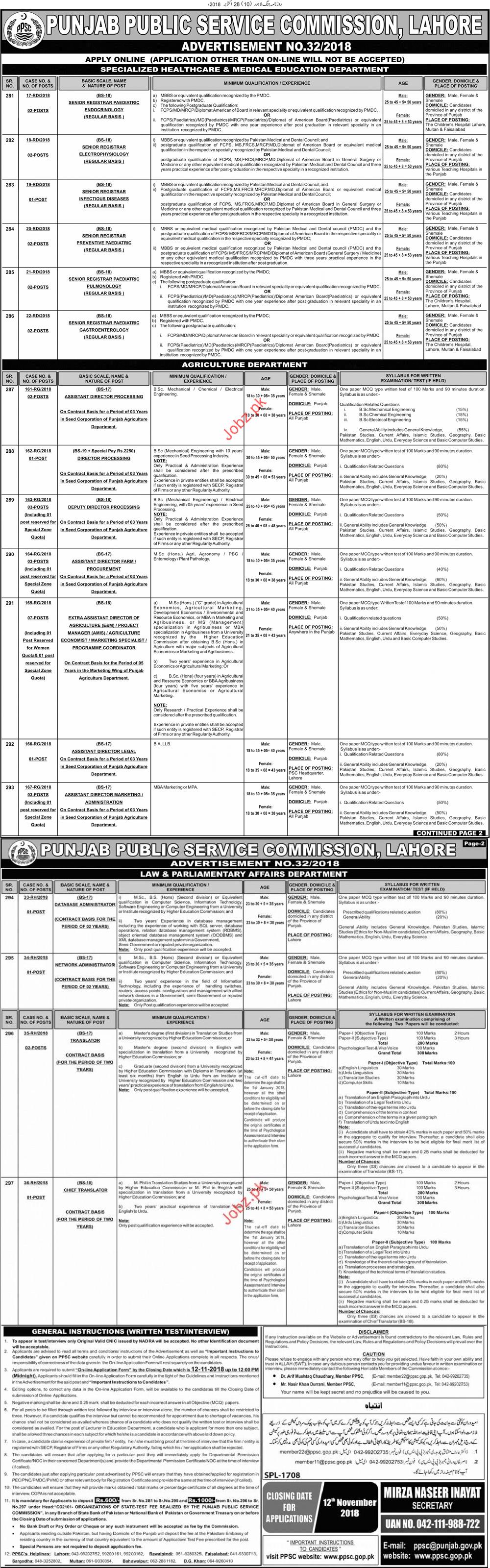 Punjab Public Service Commission PPSC 2018