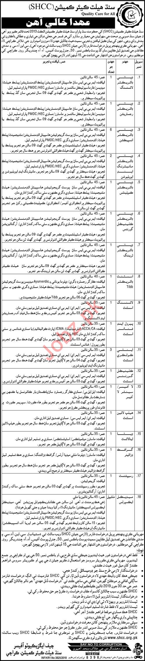 PPHI Sindh Jobs 2018 for Directors & Deputy Director