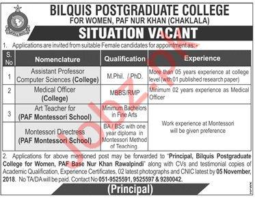 Bilquis Postgraduate College For Women Jobs 2018