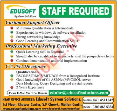 Edusoft System Solutions Multan Jobs for Marketing Executive