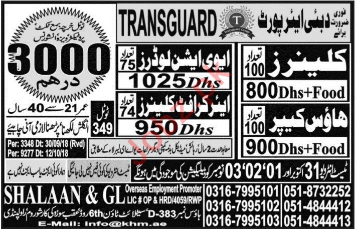 Loader, Cleaner, Housekeeper & Aircraft Cleaner Jobs 2018