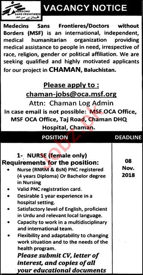 MSF Pakistan NGO Jobs 2018 for Nurses