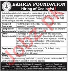 Bahria Foundation Karachi Jobs 2018 for Geologist
