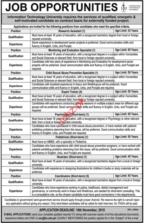 Information Technology University Research Assistant Jobs