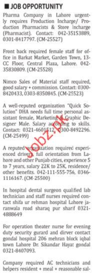 Miscellaneous Staff Nation Classified Jobs 2018 in Karachi