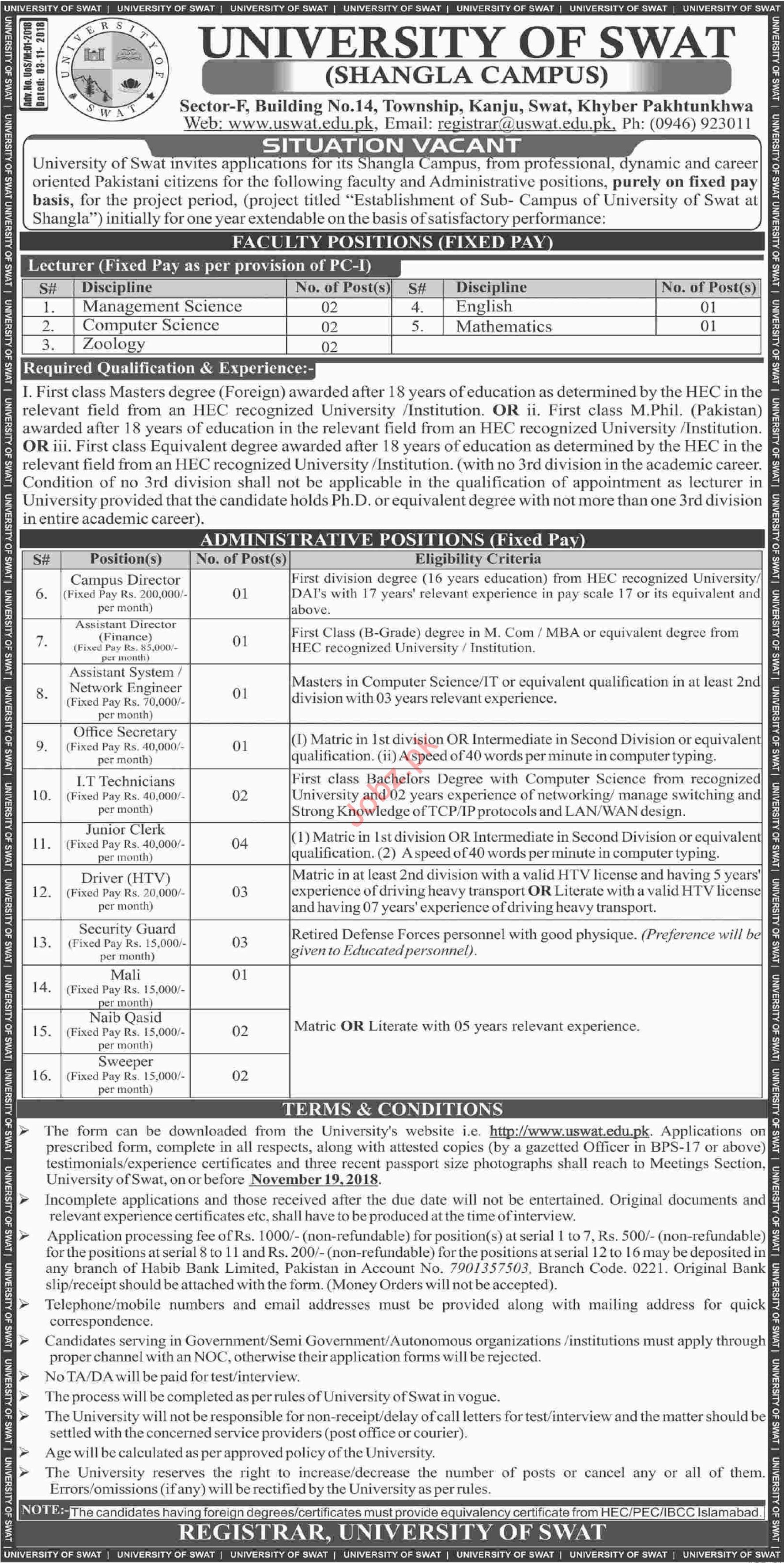 University of Swat Shangla Jobs 2018 Lecturers & Directors