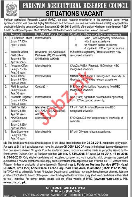 Pakistan Agricultural Research Council PARC Jobs Through PTS