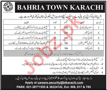 Bahria Town Karachi Assistant Manager Security Jobs