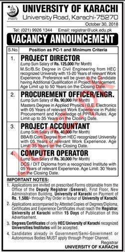 Project Director for University of Karachi UOK