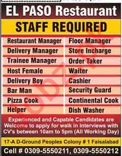 El Paso Restaurant Walk In Interviews 2018
