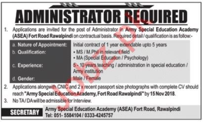 Army Special Education Academy Job 2018 For Administrator