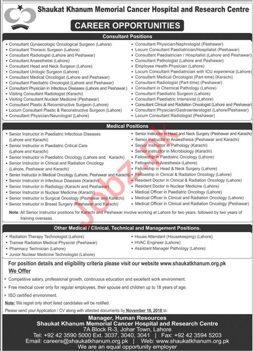 SKMCH&RC Consultant Job Opportunities