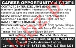 Systems Limited Contact Center Executive Jobs
