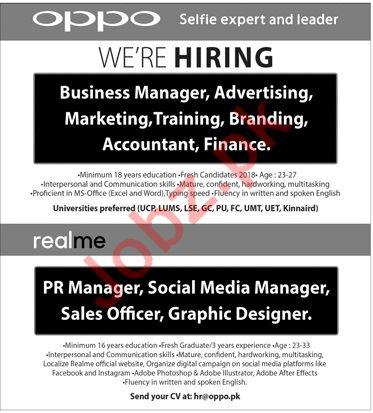 Oppo Mobile Technologies Pakistan Ltd Business Manager Job