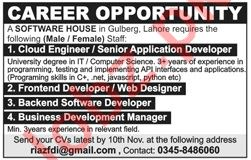 Cloud Engineer for Software House 2019 Job Advertisement