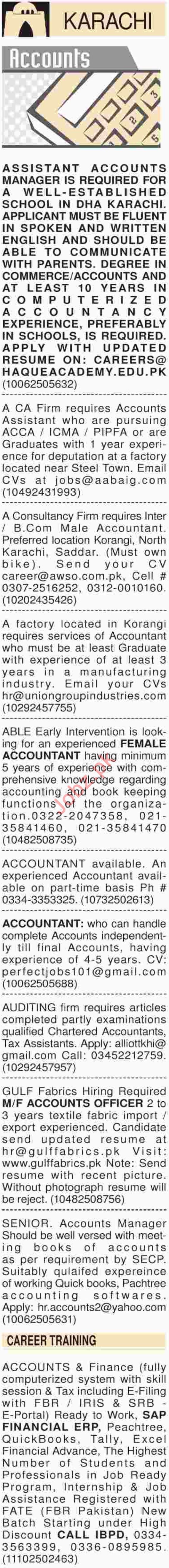 Dawn Sunday Classified Ads 2018 for Accounts Staff