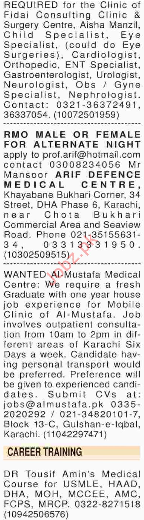 Dawn Sunday Classified Ads 2018 for Medical Staff