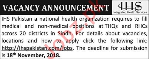 IHS Pakistan NGO Medical & Non Medical Jobs 2018