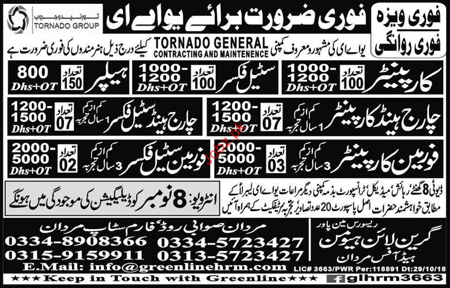 Carpenter & Steel Fixer Jobs in UAE