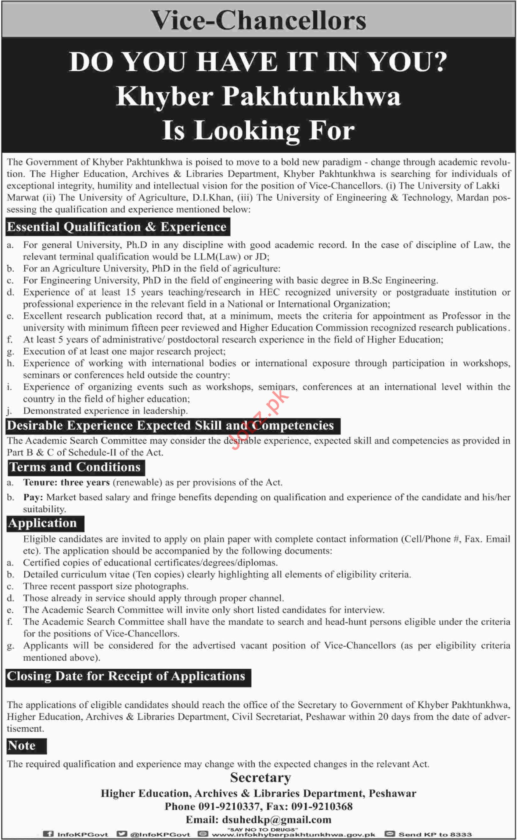 Higher Education Archives & Libraries Department KPK Jobs