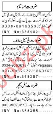 Daily Aaj Newspaper Teaching Classified Jobs 2018