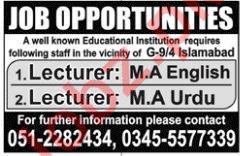 Lecturers Jobs 2018 For Islamabad