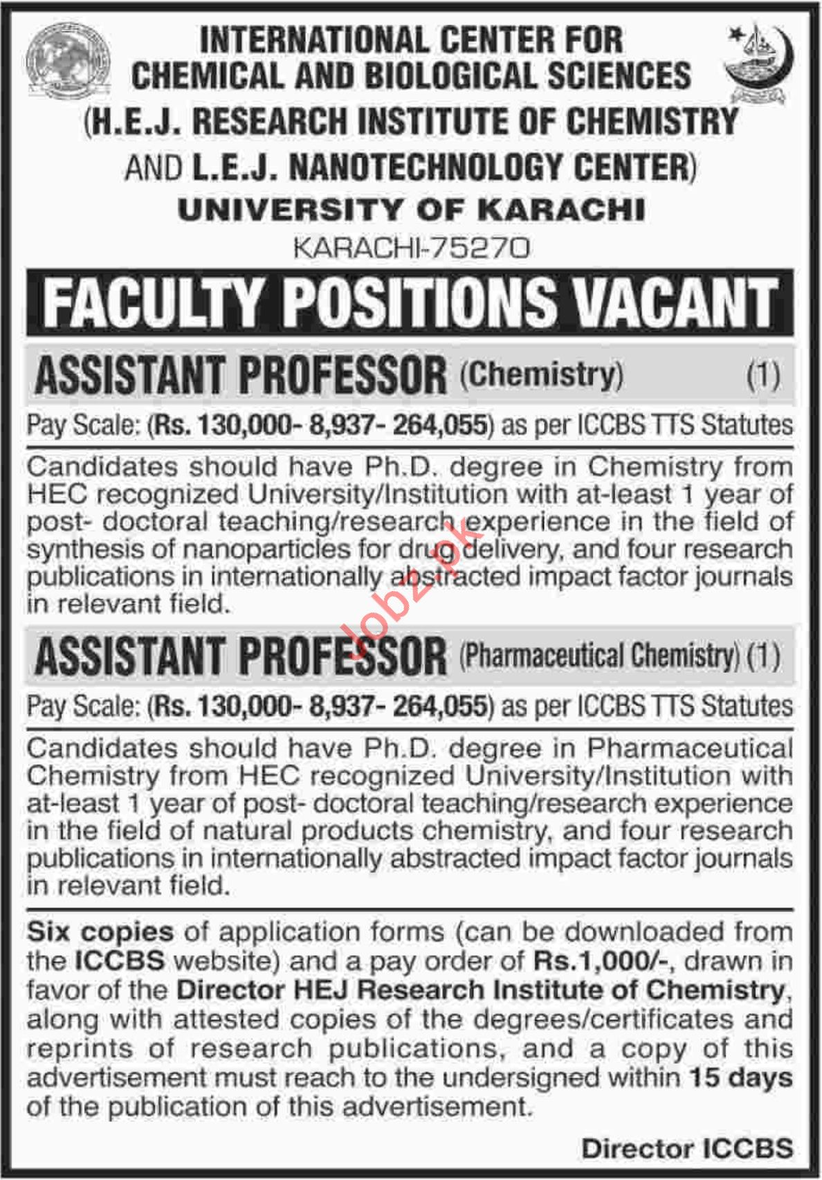 HEJ Research Institute of Chemistry Jobs 2018 for Professors