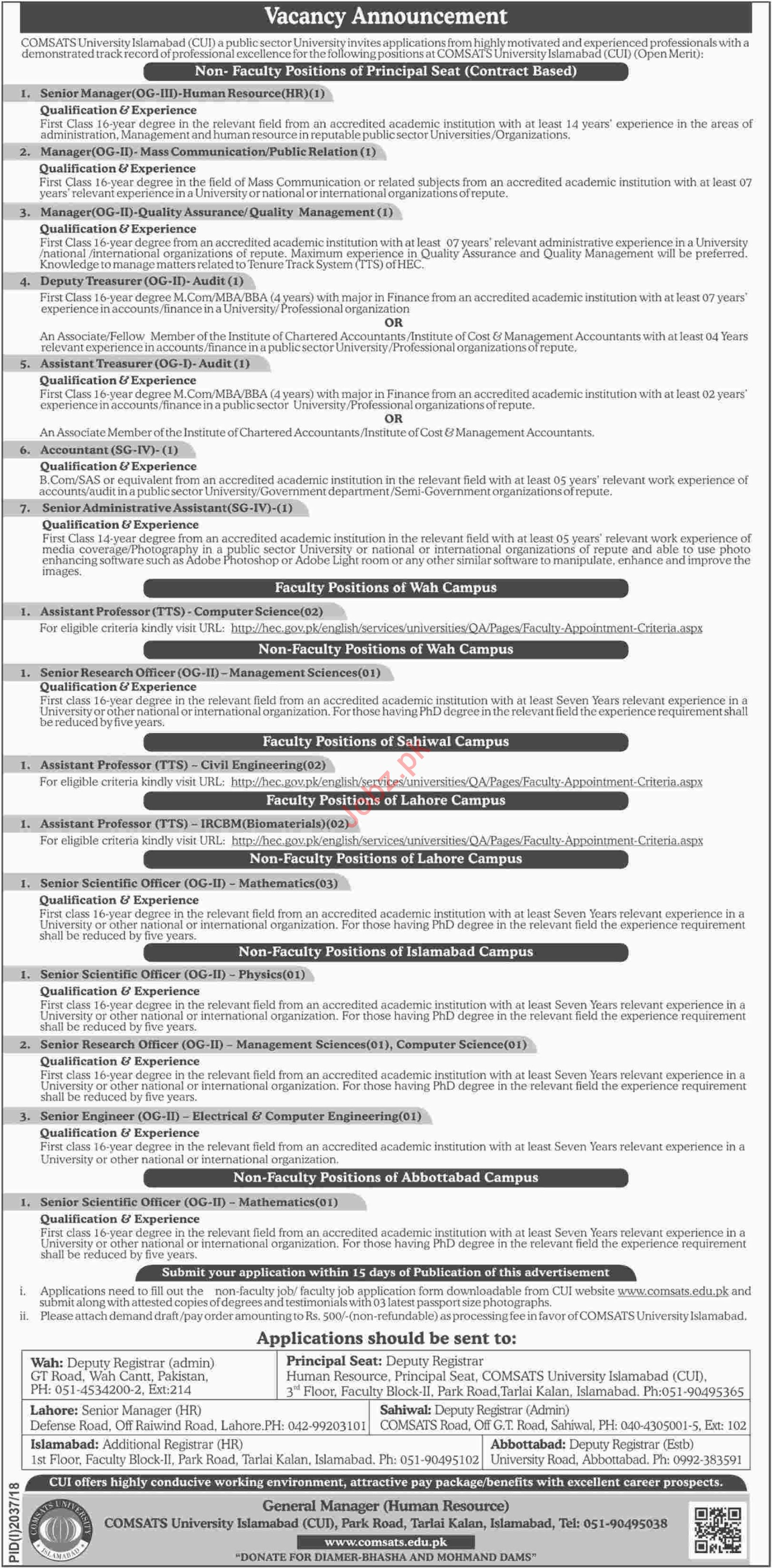 Comsats University Islamabad CUI Faculty & Non Faculty Jobs