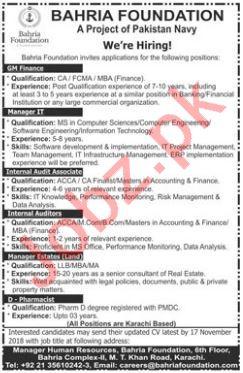 Bahria Foundation Jobs 2018 For Karachi