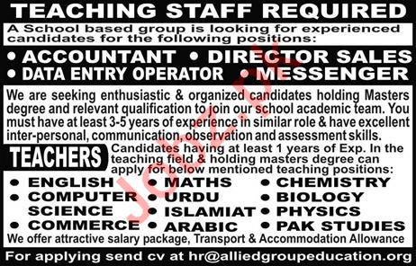 Teaching & Non Teaching Jobs 2018 For School in Lahore