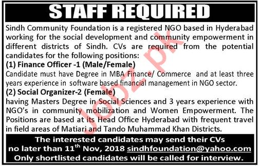 Sindh Community Foundation NGO Jobs 2018 in Hyderabad