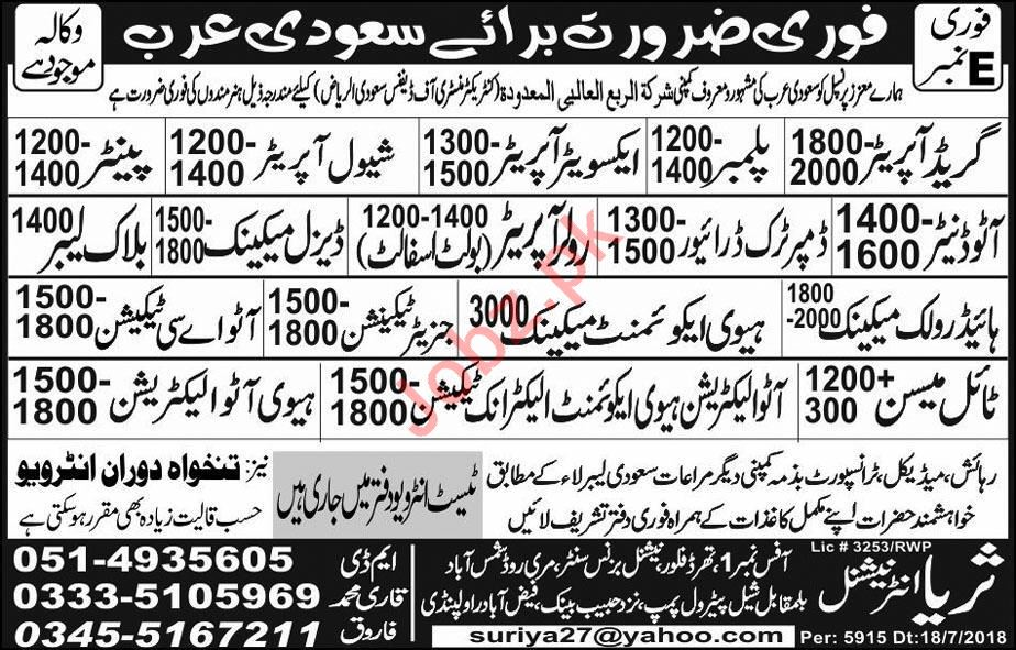 Ministry of Defence Jobs 2018 in Riyadh Saudi Arabia