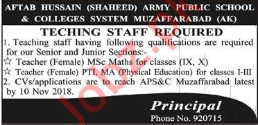 Army Public School & Colleges System Teaching Jobs 2018