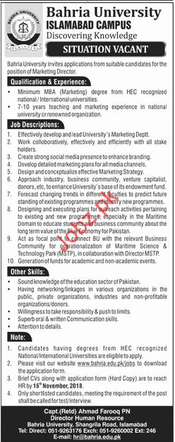 Bahria University Marketing Director Jobs 2018
