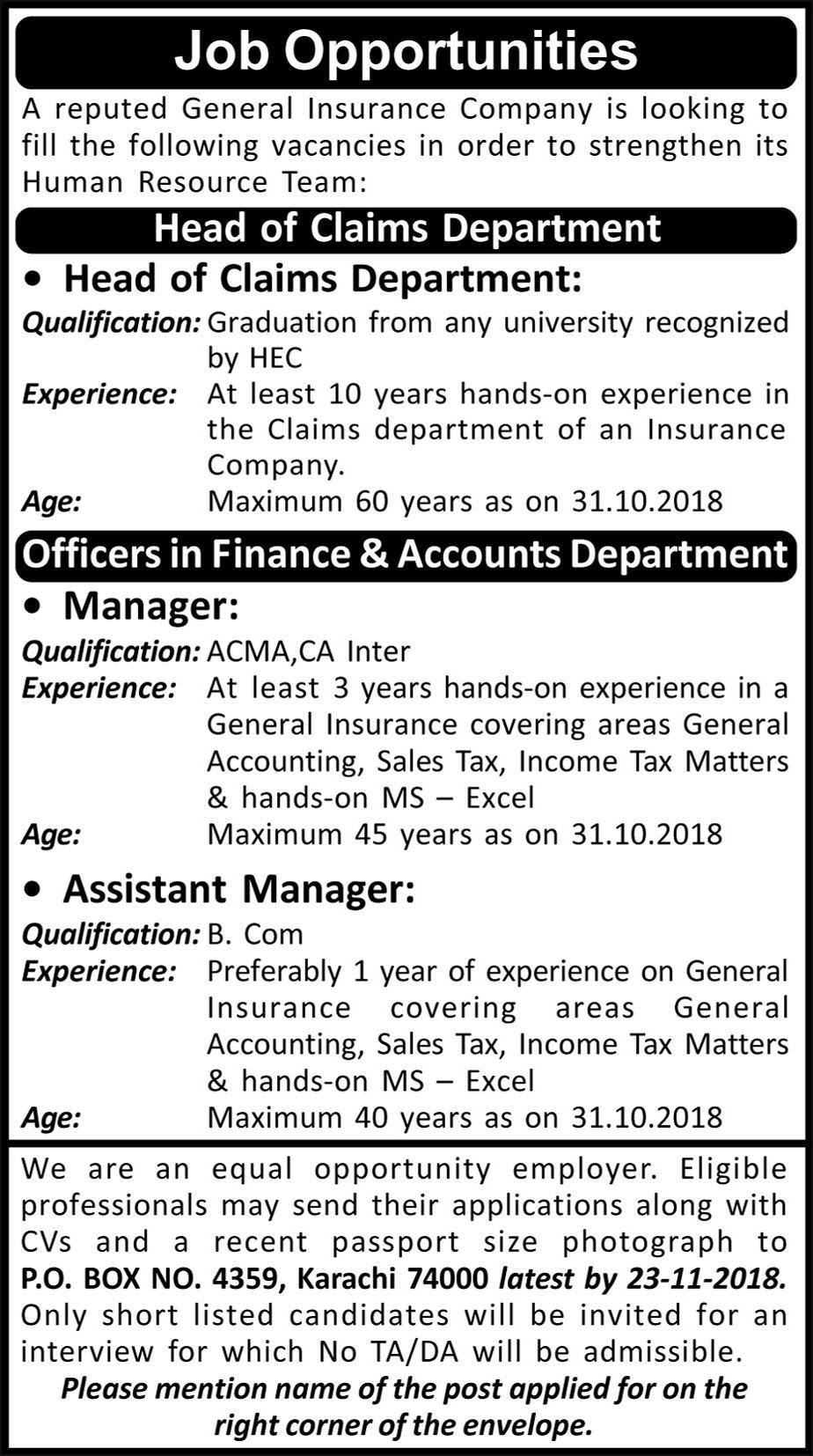 General Insurance Company Head of Chief Cliam Department Job