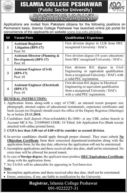 Islamia College Peshawar Assistant Registrar Jobs 2018