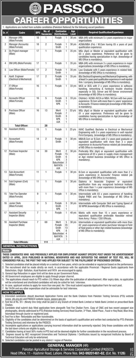 Manager HR Jobs in Pakistan Agricultural Storage & Services