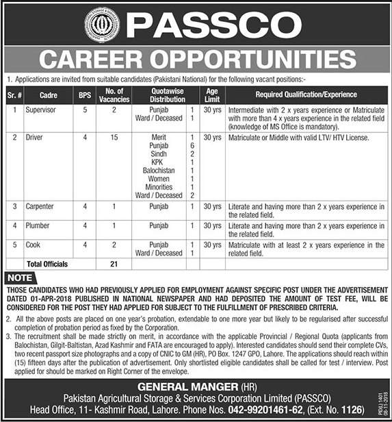 Driver Jobs in Pakistan Agricultural Storage & Services