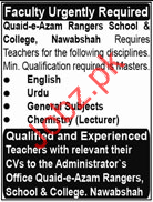 Teaching Jobs in Quaid-e-Azam Rangers School & College