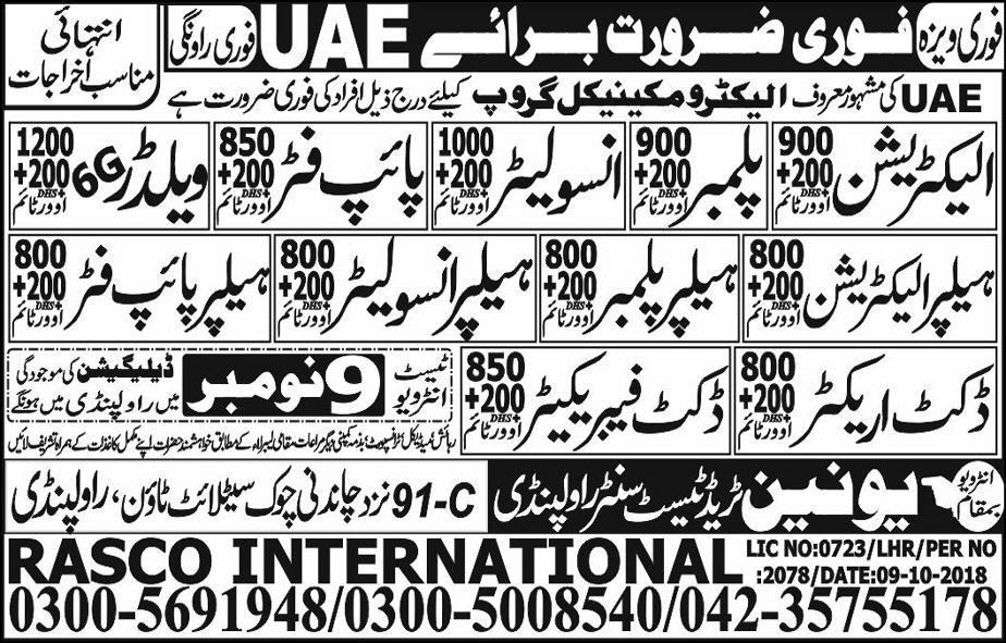 Electrician Plumber & pipe Fitter Jobs in UAE