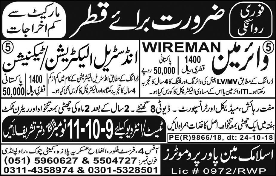 Wireman Electrician & Industrial Technician Jobs in Qatar